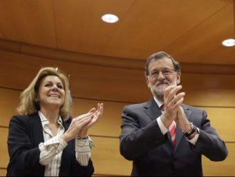 Rajoy i Cospedal, durant la reunió del grup del PP al Senat Foto:EFE