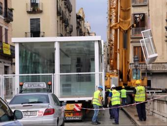 El dia del desmuntatge del Vol al Pont de Pedra de Girona, a finals del mes de setembre Foto:QUIM PUIG