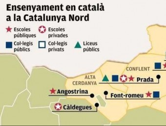 El mapa de l'ensenyament del català a Catalunya Nord. FOTO: Aplec