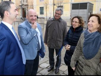 Polanco a l'esquerra amb Bayot, Casadesús, Ruiz i la secretària general. Foto:MANEL LLADÓ