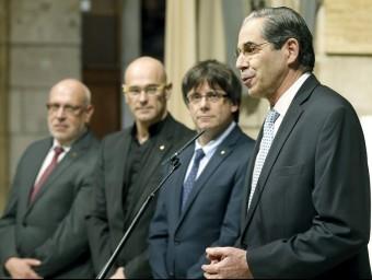 Buffa, Puigdemont, Romeva i Baiget, ahir durant l'acte al Palau de la Generlaitat. Foto:EFE
