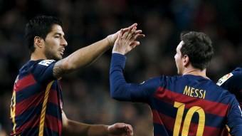 Suárez i Messi celebren el segon gol contra el Celta Foto:REUTERS