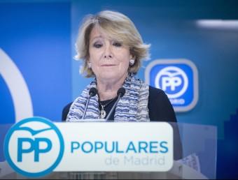 Esperanza Aguirre durant la roda de premsa convocada amb caràcter urgent Foto:EFE