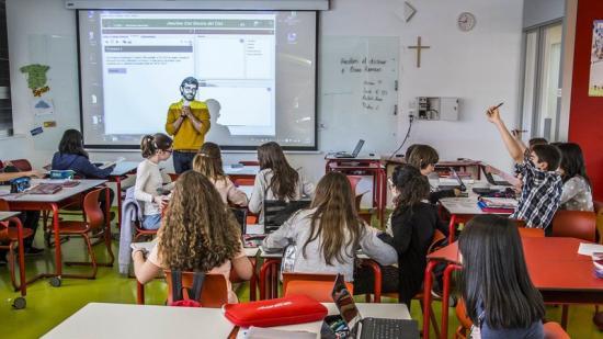 Una aula de l'escola dels Jesuites del Clot, a Barcelona Foto:JOSEP LOSADA