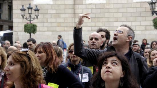 Treballadors del metro durant la protesta de dimecres, davant de l'Ajuntament de Barcelona Foto:ACN