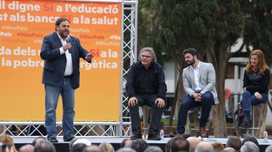 Oriol Junqueras durant l'acte d'ERC celebrat a Gavà aquest dissabte Foto:ANDREU PUIG