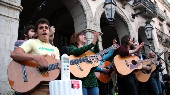 Manifestació a favor dels festivals musicals, el passat 17 d'abril a Vilanova i la Geltrú Foto:ACN