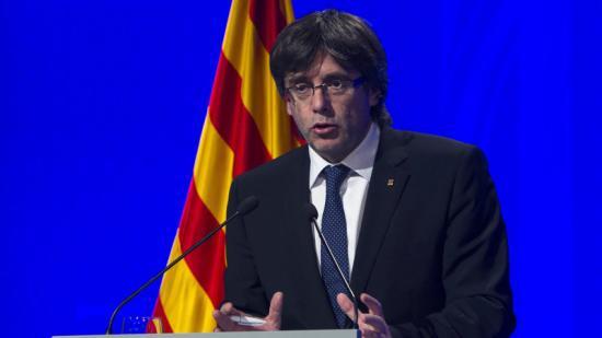 Puigdemont, durant la roda de premsa posterior a la cimera Foto:EFE