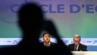 El vicepresident Junqueras, durant la seva intervenció ahir en les jornades del Cercle d'Economia a Sitges Foto:JUANMA RAMOS