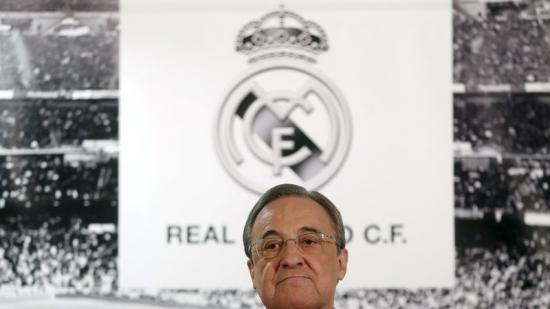 Florentino Pérez, durant una compareixença a l'Estadi Bernabéu del Reial Madrid Foto:JUAN MEDINA / REUTERS