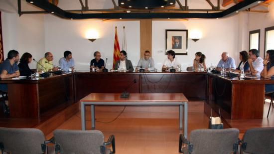 Pla general del ple conjunt que han celebrat el regidors de Cardona i Flix al saló de plens de l'Ajuntament flixanco. Foto:ACN
