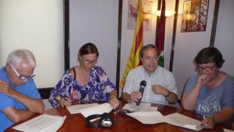 Nogueras, Moreno, Vinyes i Roig, ahir al matí a l'Ajuntament d'Arenys de Mar Foto:LL.M