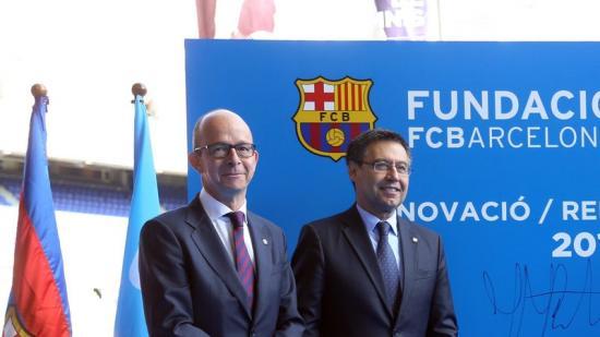 Jordi Cardoner i Josep Maria Bartomeu en un acte del Barça. Foto:QUIM PUIG