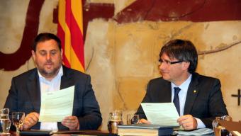 Puigdemont i Junqueras es van retrobar ahir en el primer consell executiu després de les vacances d'estiu Foto:ACN