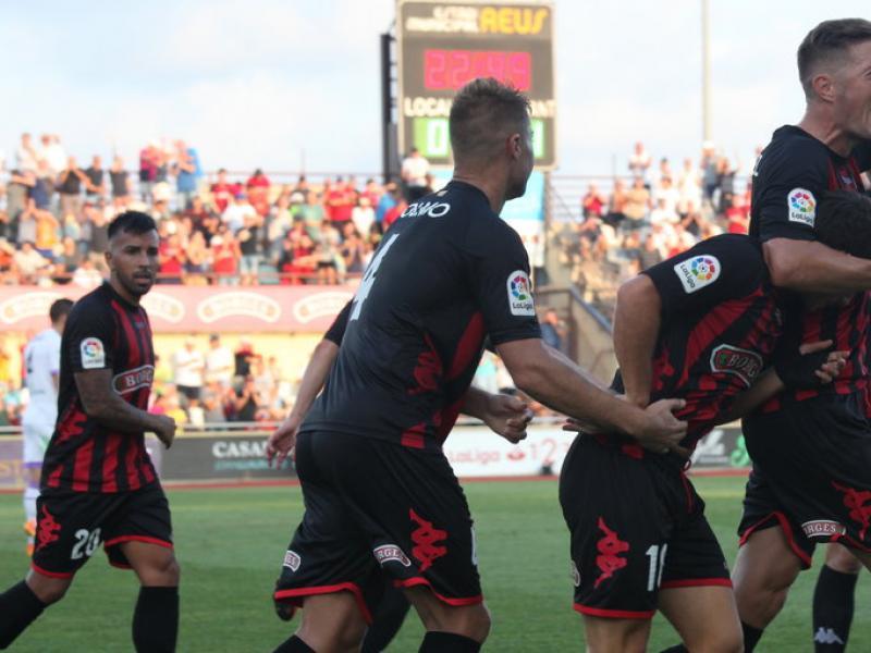 Els jugadors del Reus celebrant el gol de l'empat, dissabte passat, a l'estadi municipal, contra el Numància Foto:JUDIT FERNÀNDEZ