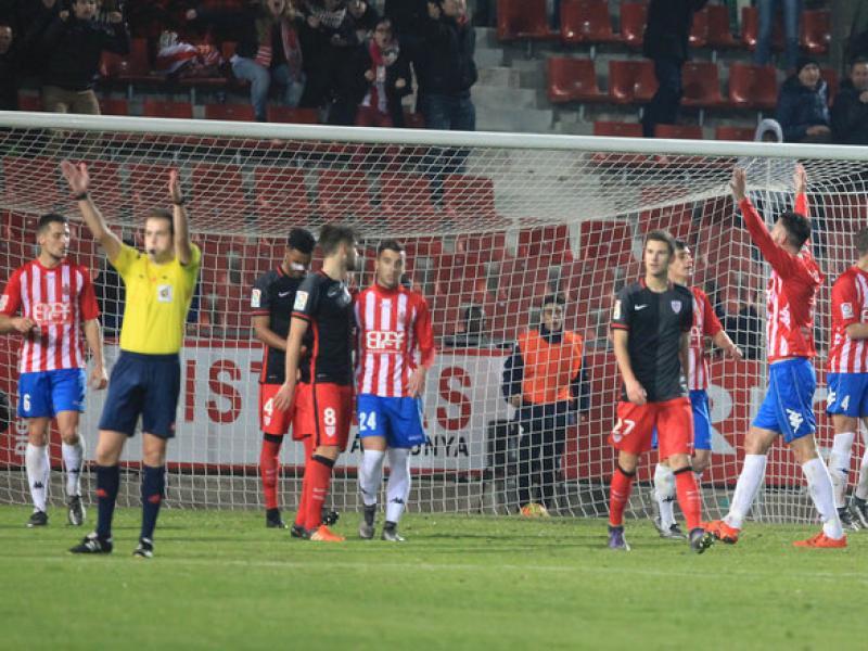 El Girona va celebrar el segon triomf seguit en la lliga el curs passat al gener, contra l'Athletic B Foto:JOAN SABATER