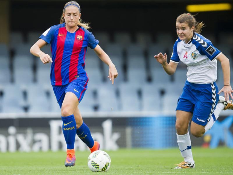 Alèxia, autora del segon gol, en un acció del partit Foto:FCB