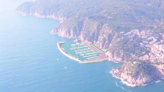 Imatge virtual de com quedaria la zona d'Es Codolar amb el port. EPA Foto:Arxiu