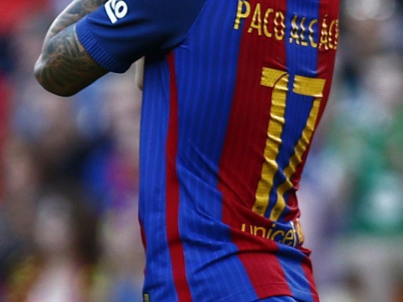Alcácer, André Gomes, Denis, Digne i Umtiti no saben encara què és celebrar un gol amb la samarreta del Barça Foto:EFE / REUTERS / AFP