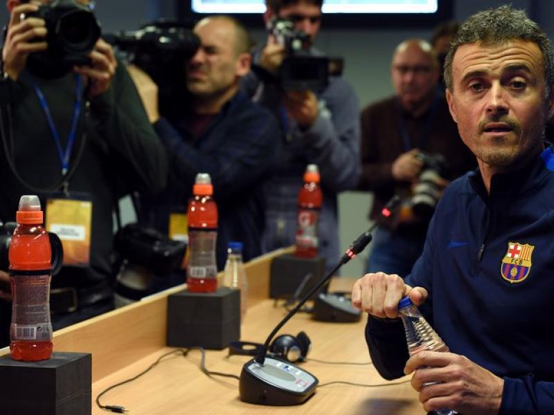 Luis Enrique a la sala de premsa de la ciutat esportiva Foto:AFP