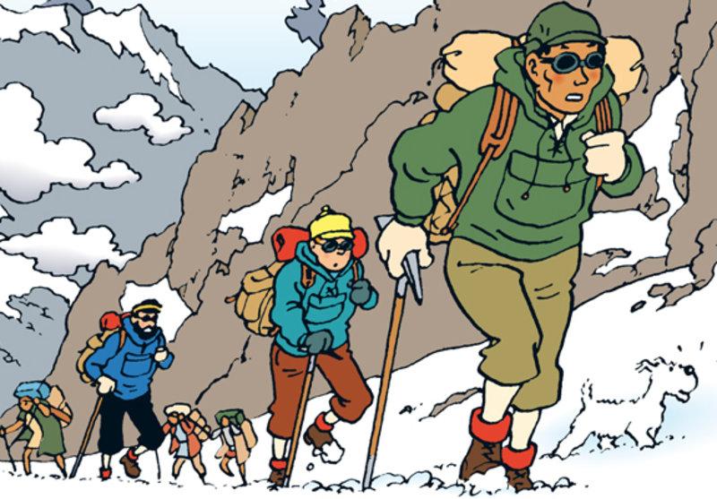 Imatge d'una vinyeta de 'Tintín al Tibet'.