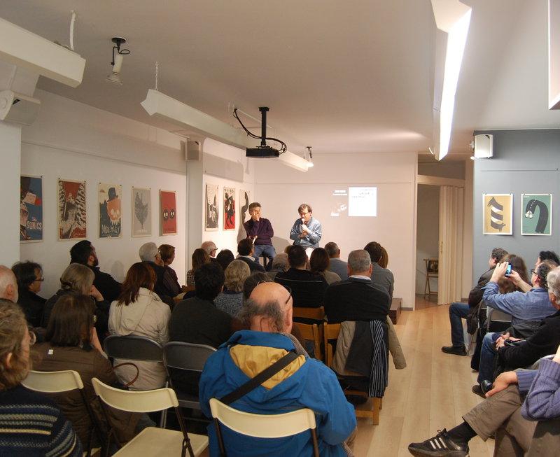Imatge de l'Espai 22 durant la presentació, amb Cercas i Terribas al fons.
